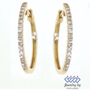 Solid 14K Yellow Gold Diamond Hoops Fine Earrings